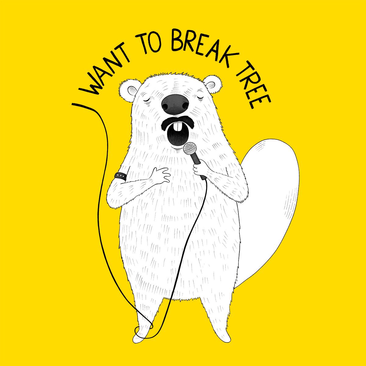 Beaver singing Queen Illustration