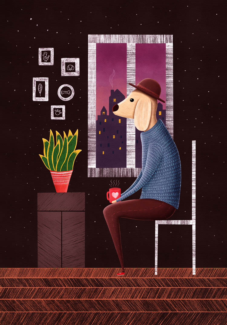 Color digital Illustration of a dog waiting alone in a room by the window at night