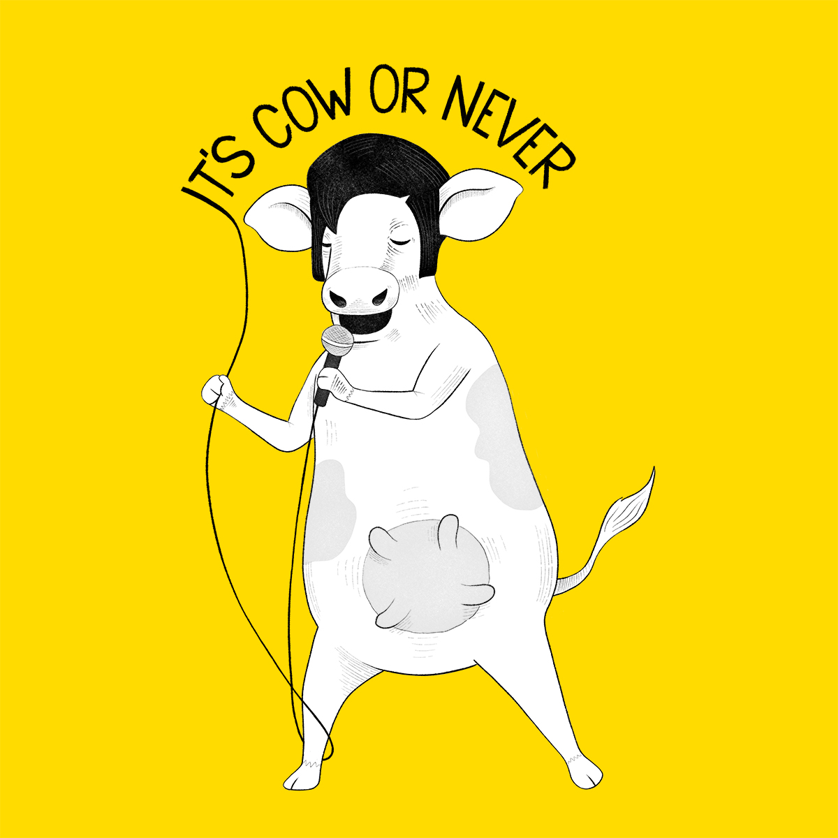 Cow singing Elvis Presley karaoke Illustration
