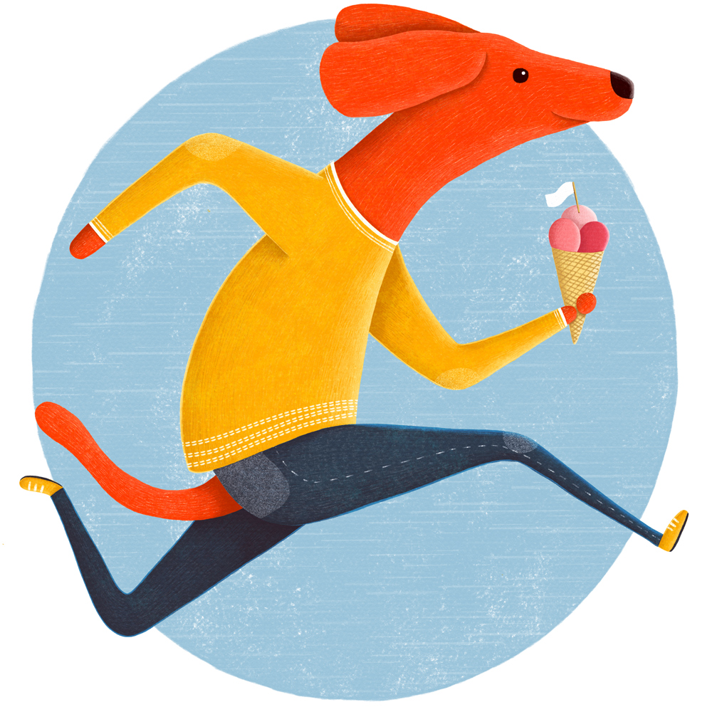 Dog with ice cream illustration