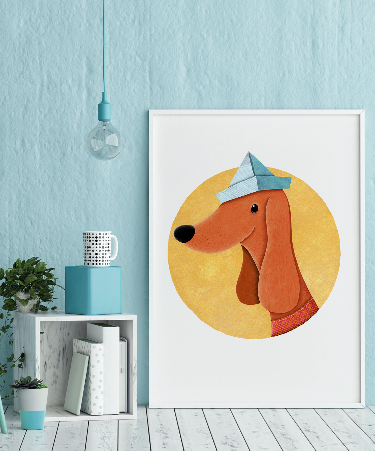 Dog-With-Newspaper-Hat-Art-Print-DrawingEggen