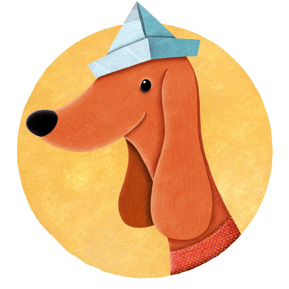 Dog with newspaper hat illustration