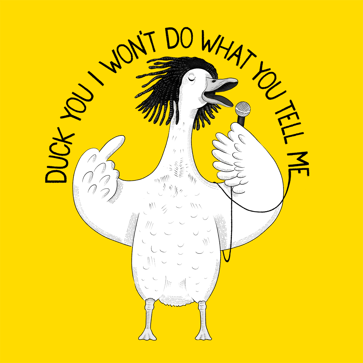 Duck singing Rage Against the Machine karaoke illustration