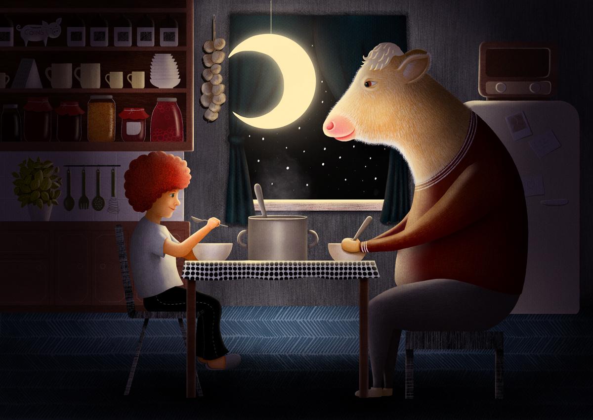 Girl-and-Cow-Illustration-by-Lucia-Eggenhoffer-aka-Drawing-Eggen