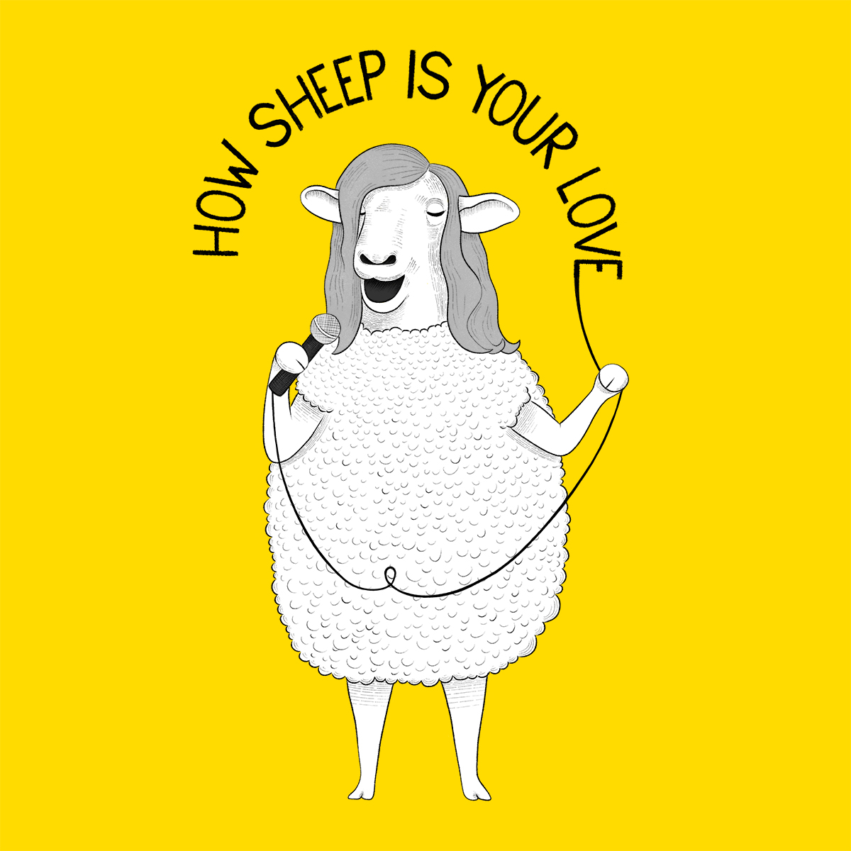 Sheep singing Bee Gees karaoke Illustration