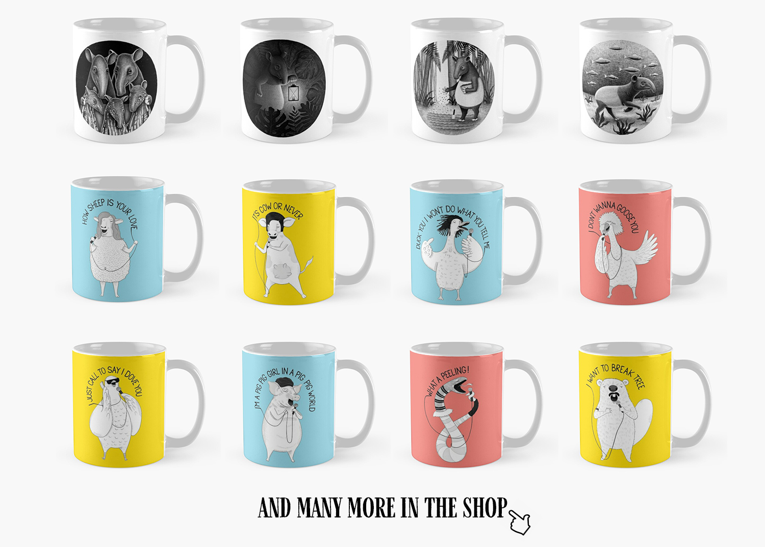 illustrated mugs for sale