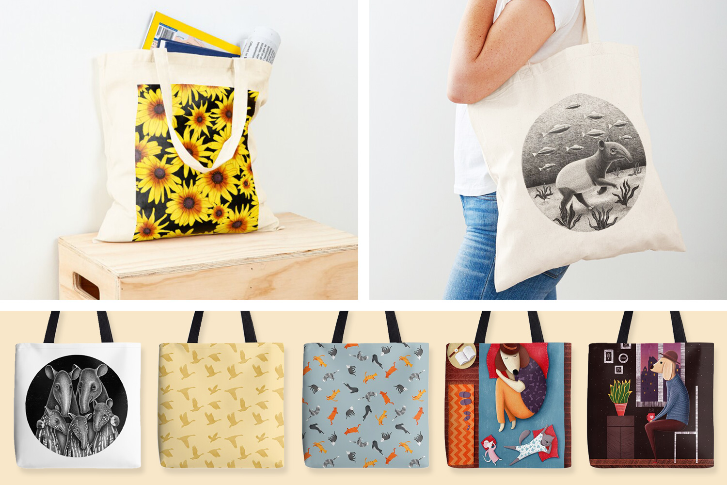 Illustrated Tote Bags and Cotton Tote bags by DrawingEggen