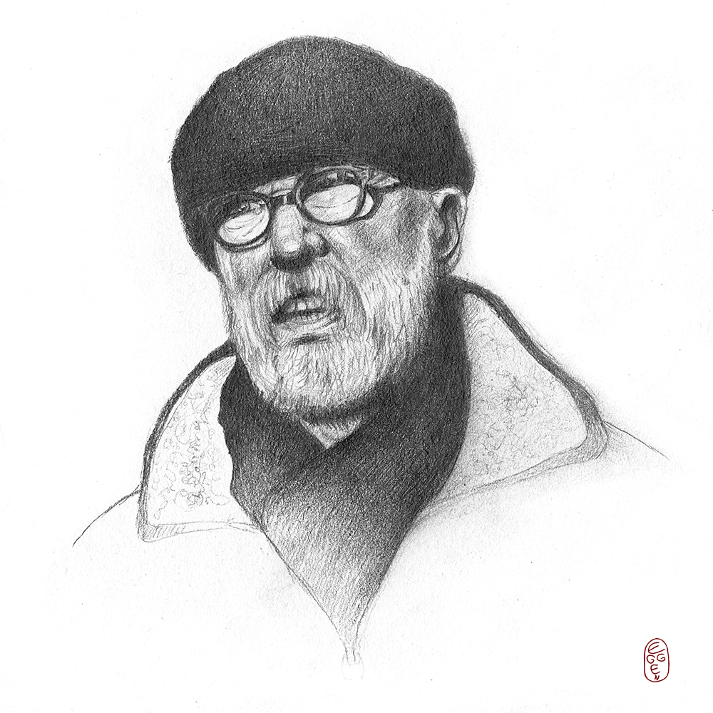 Black and white pencil portrait drawing of an old man
