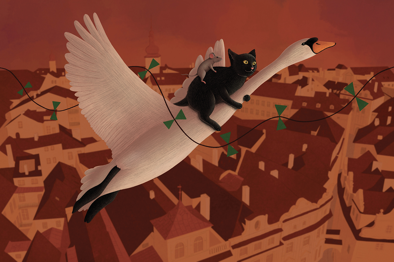 illustration of swan cat and mouse flying above old town in prague
