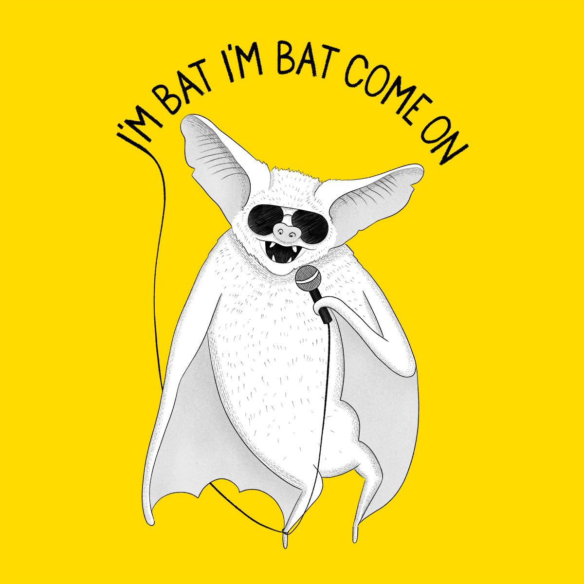 bat singing michael jackson animal karaoke illustration drawingeggen