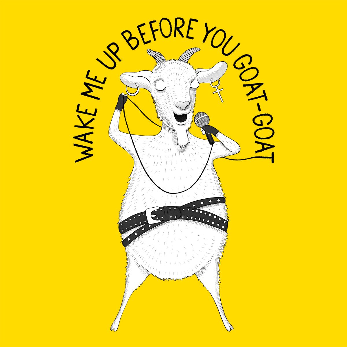 Goat singing George Michael Animal Karaoke illustration by drawingeggen