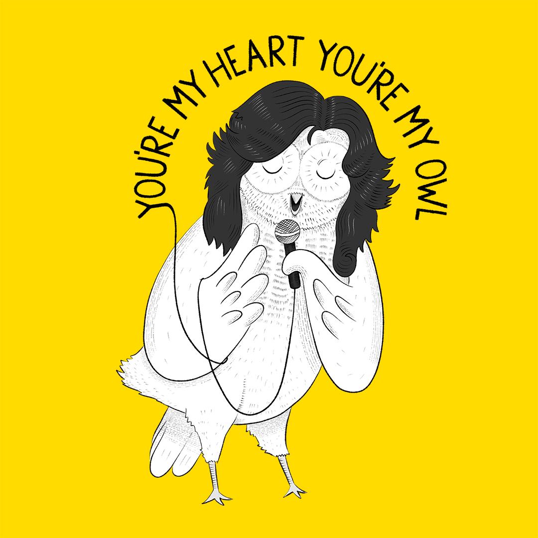 owl modern talking animal karaoke illustration lucia eggenhoffer