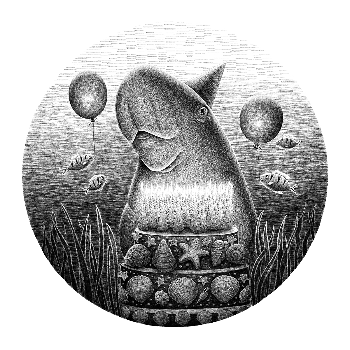 Dugong birthday black and white illustration endangered animals lucia eggenhoffer illustrator